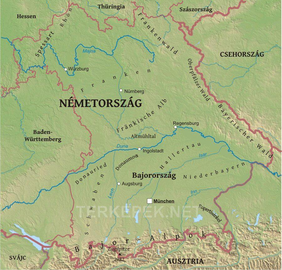 németország domborzati térkép Bajorország domborzati térképe németország domborzati térkép